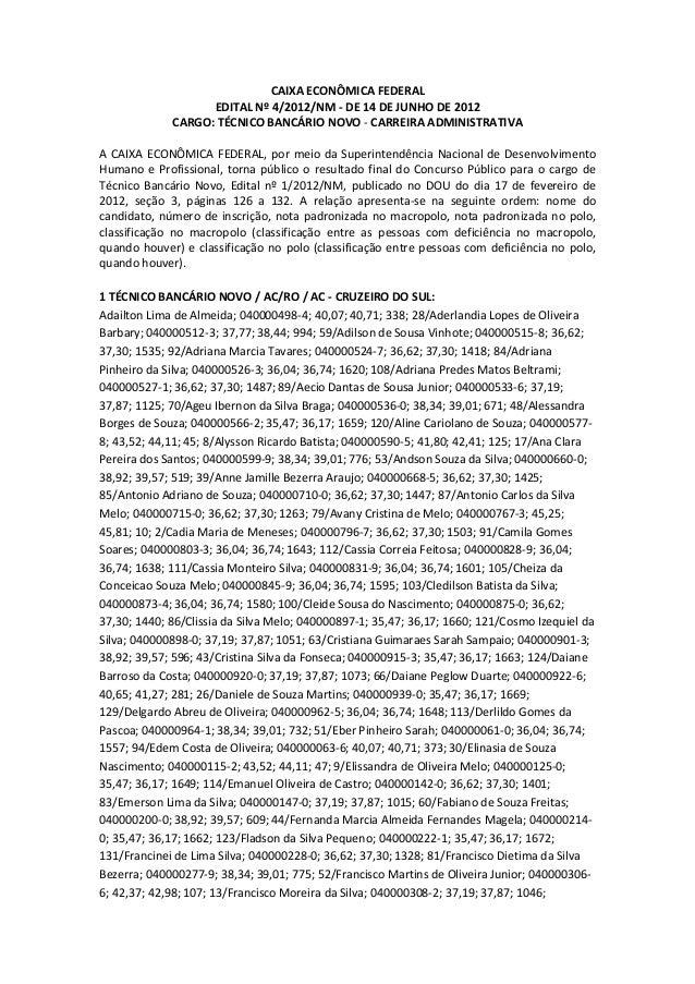 CAIXAECONÔMICAFEDERAL EDITALNº4/2012/NM‐DE14DEJUNHODE2012 CARGO:TÉCNICOBANCÁRIONOVO‐CARREIRAADMINISTRAT...