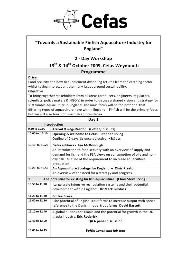 Cefas Aquaculture Workshop 2009 Programme