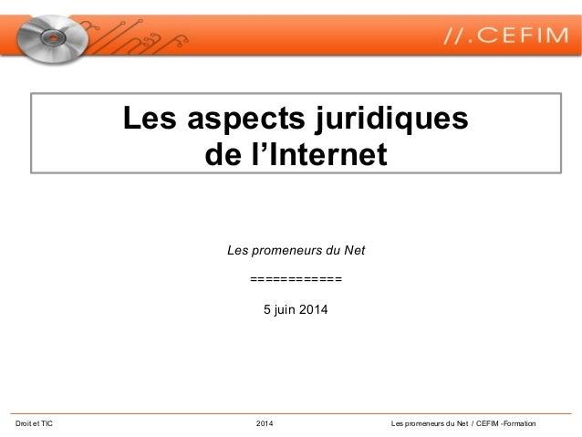 Droit et TIC 2014 Les promeneurs du Net / CEFIM -Formation Les aspects juridiques de l'Internet Les promeneurs du Net ====...