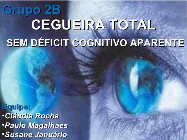 CEGUEIRA TOTAL SEM DÉFICIT COGNITIVO APARENTE Grupo 2B  <ul><li>Equipe: </li></ul><ul><li>Cláudia Rocha   </li></ul><ul><l...