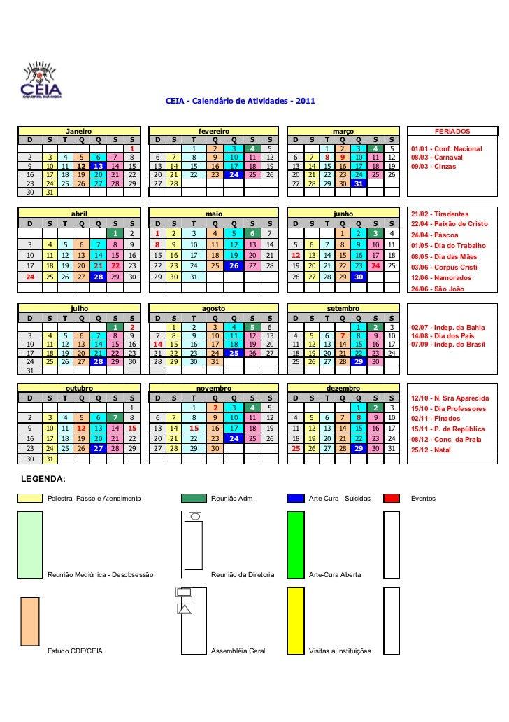 CEIA - Calendário de Atividades - 2011           Janeiro                                     fevereiro                    ...