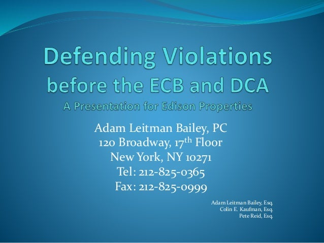 Defending violations 1 for 120 broadway 5th floor new york ny 10271
