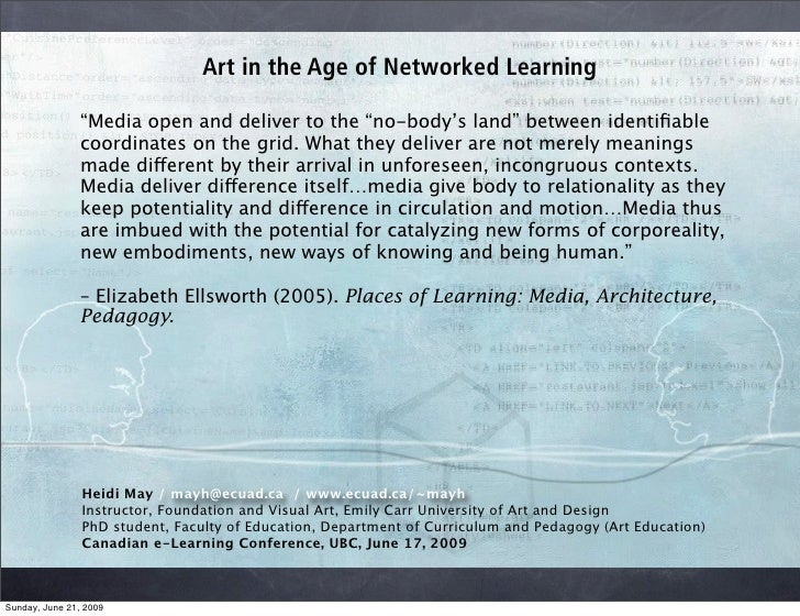 "Art in the Age of Networked Learning                  ""Media open and deliver to the ""no-body's land"" between identifiable ..."