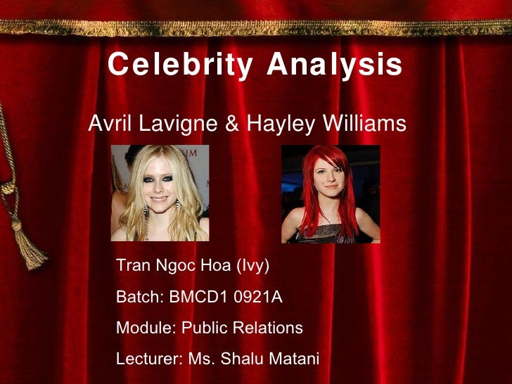 Celebrity Analysis Avril Lavigne & Hayley Williams Tran Ngoc Hoa (Ivy) Batch: BMCD1 0921A Module: Public Relations Lecture...