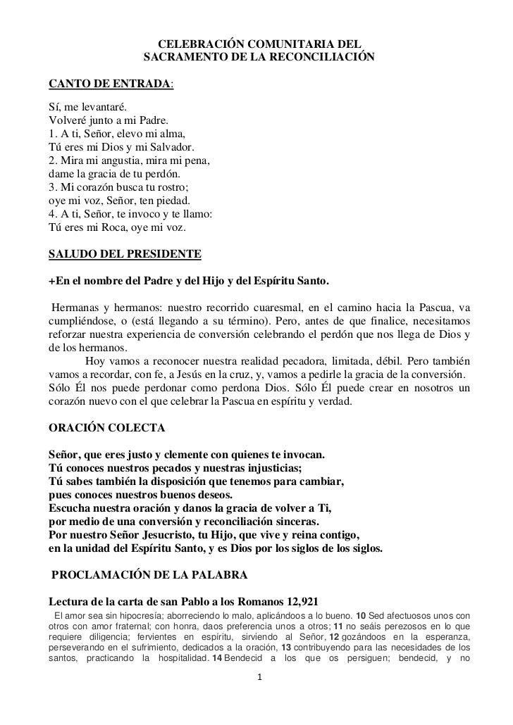 CELEBRACIÓN COMUNITARIA DEL                      SACRAMENTO DE LA RECONCILIACIÓNCANTO DE ENTRADA:Sí, me levantaré.Volveré ...
