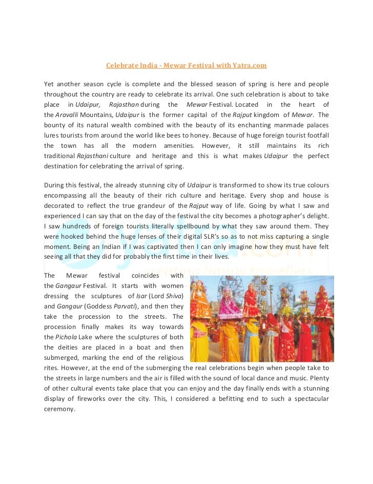 Celebrate India - Mewar Festival with Yatra.comYet another season cycle is complete and the blessed season of spring is he...