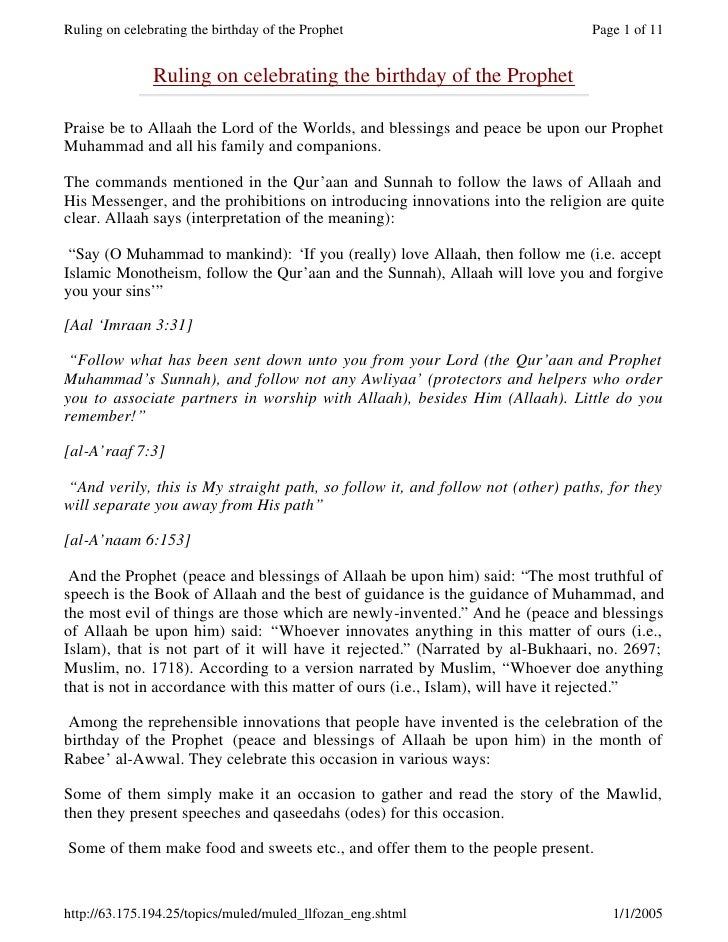 Ruling on celebrating the birthday of the Prophet                               Page 1 of 11                  Ruling on ce...