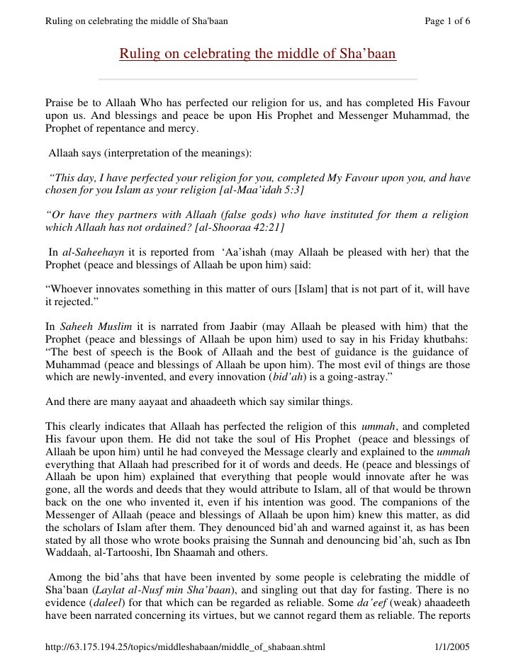 Ruling on celebrating the middle of Sha'baan                                       Page 1 of 6                    Ruling o...