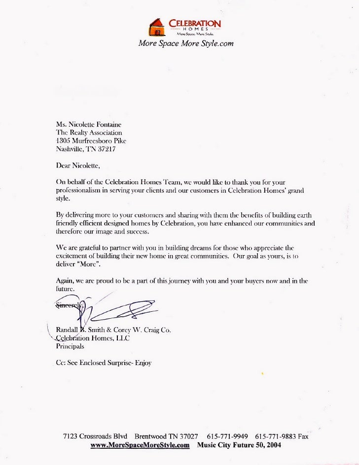 Letter of Recommendation from Celebration Homes, New Home Builder in ...