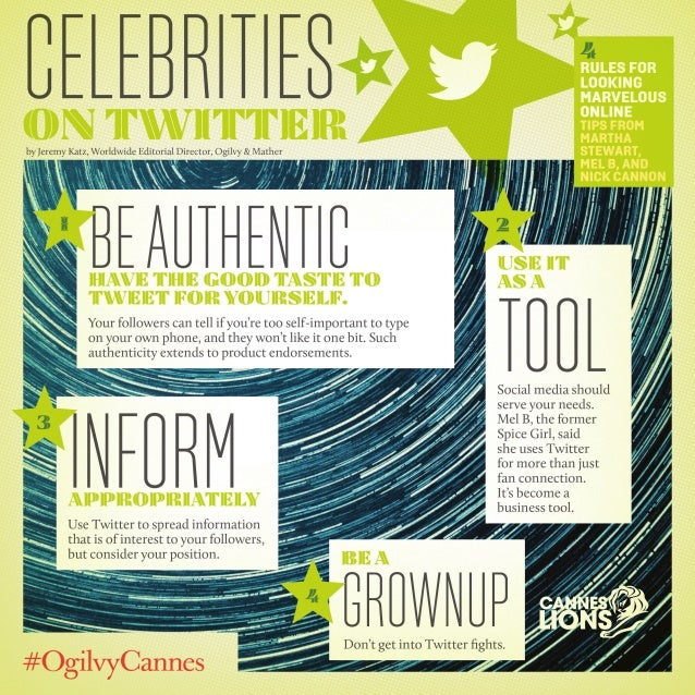 Celebrities on Twitter - Tips from #CannesLions / #OgilvyCannes