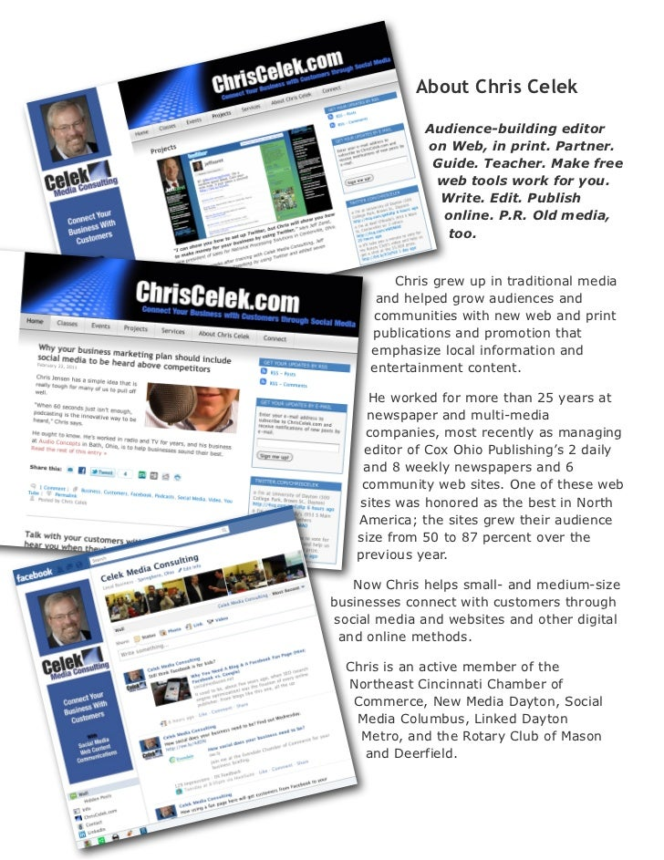 About ChrisCelek             Audience-building editor             on Web, in print. Partner.              Guide. Teacher....