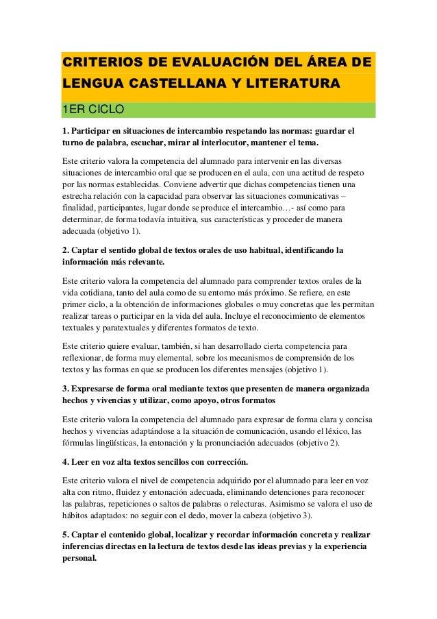 CRITERIOS DE EVALUACIÓN DEL ÁREA DELENGUA CASTELLANA Y LITERATURA1ER CICLO1. Participar en situaciones de intercambio resp...
