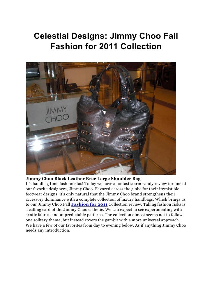 Celestial Designs: Jimmy Choo Fall        Fashion for 2011 CollectionJimmy Choo Black Leather Bree Large Shoulder BagIt's ...