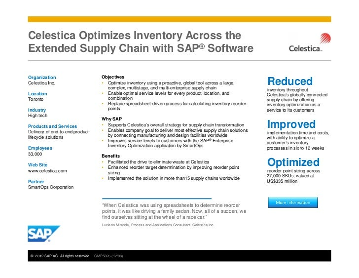 Celestica Optimizes Inventory Across theExtended Supply Chain with SAP® SoftwareOrganization                              ...
