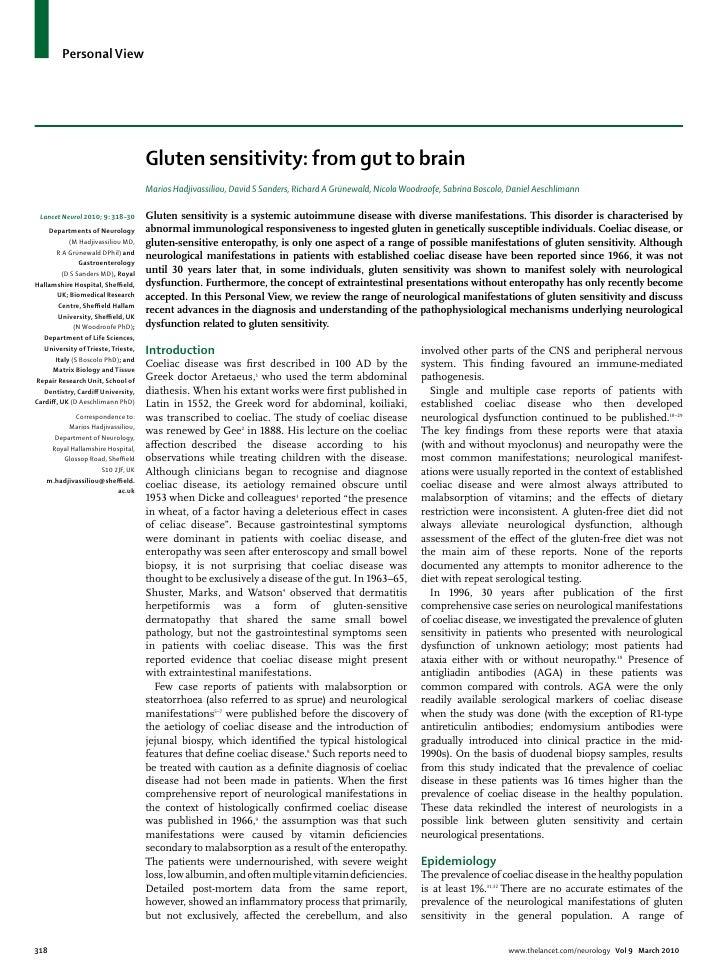 Celiac disease from gut to brain