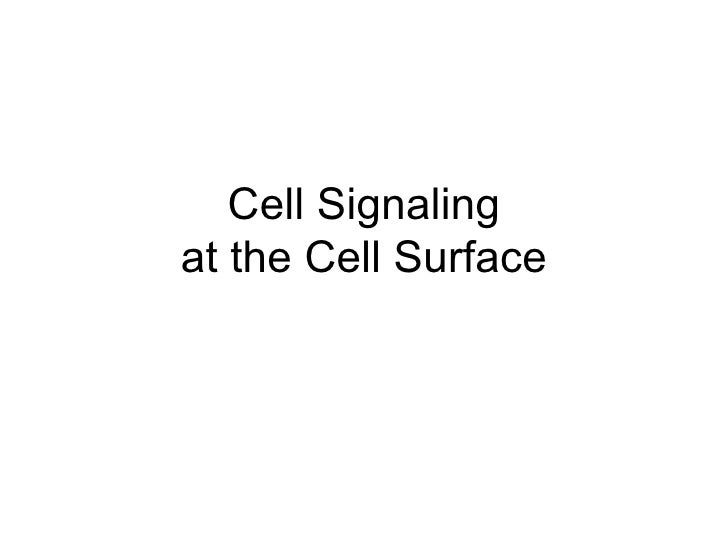 Cell Signaling at the Cell Surface