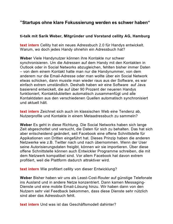 """""""Startups ohne klare Fokussierung werden es schwer haben""""  ti-talk mit Sarik Weber, Mitgründer und Vorstand cellity AG, Ha..."""
