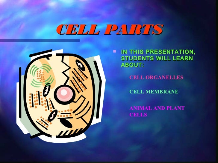 CELL PARTS        IN THIS PRESENTATION,         STUDENTS WILL LEARN         ABOUT:           CELL ORGANELLES           CE...