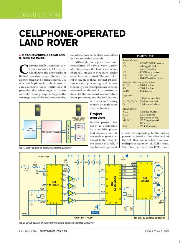 Cellphone land rover using micro controller