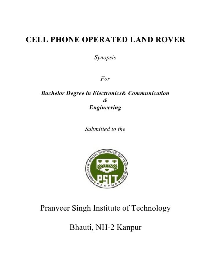 Cell phone operated robot synopsis