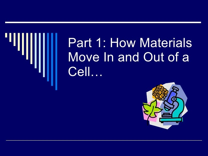 Part 1: How Materials Move In and Out of a Cell…