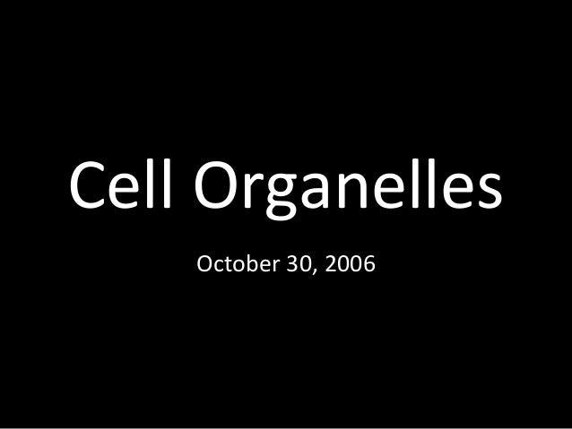 Cell Organelles October 30, 2006
