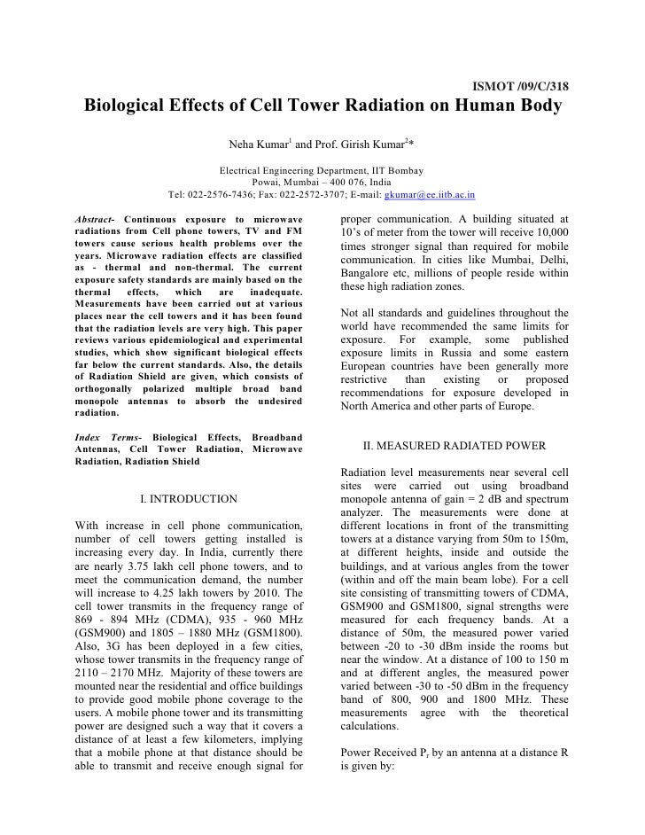 ISMOT /09/C/318  Biological Effects of Cell Tower Radiation on Human Body                                   Neha Kumar1 an...
