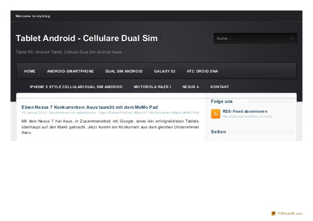 We lco me t o my b lo gTablet Android - Cellulare Dual Sim                  S uc he                                       ...
