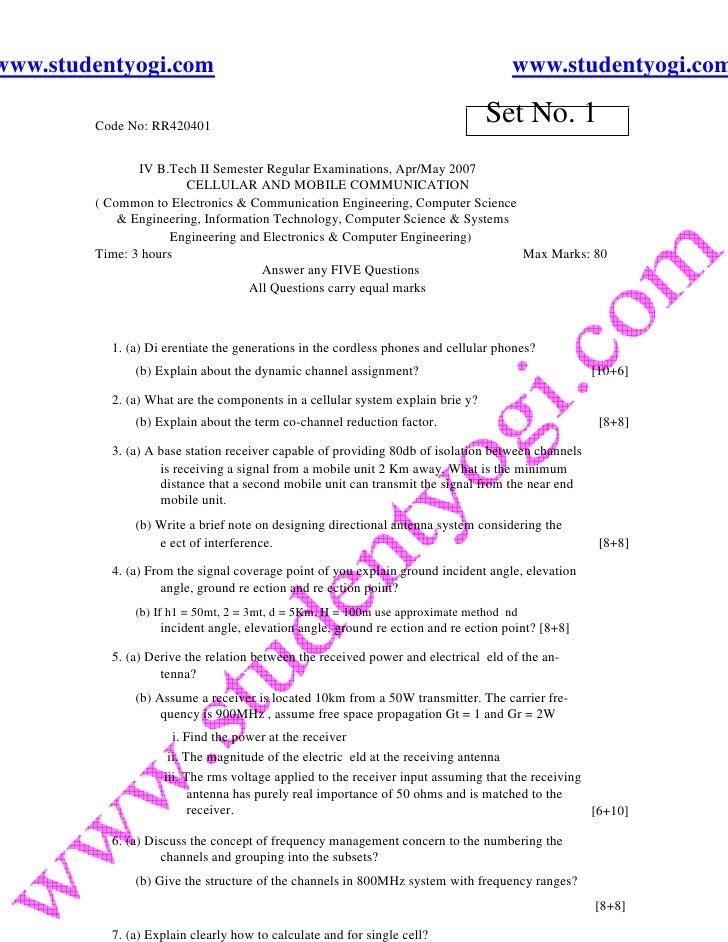 Cellular and mobile communication Jntu Model Paper{Www.Studentyogi.Com}