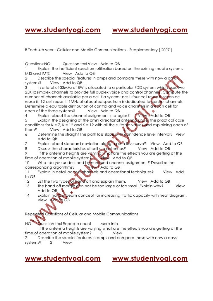 Cellular And Mobile Communications   Supplementary [ 2007 ] Jntu Model Paper{Www.Studentyogi.Com}