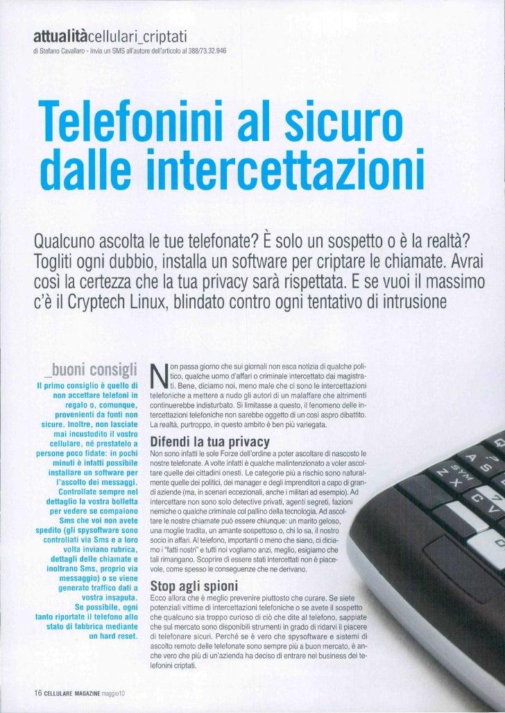 attualitàcellulari_criptati di Stefano Cavallaro - invia un SMS all'autore dell'articolo al 388/73.32.946      Telefqnini ...