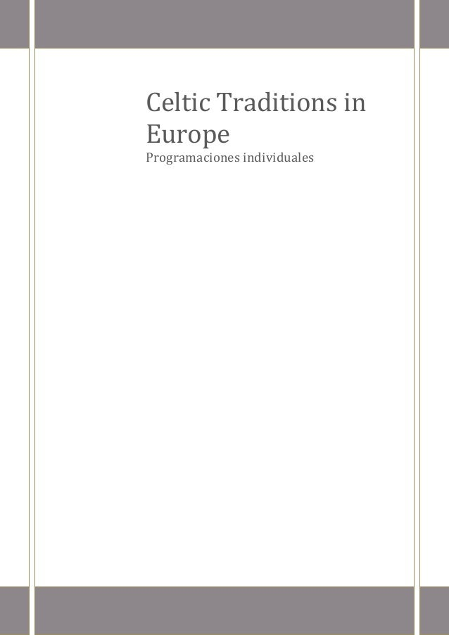 Celtic Traditions in Europe  Programaciones individuales