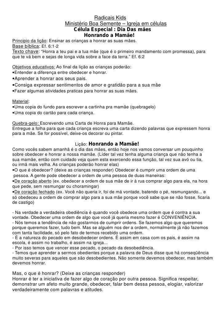 Radicais Kids                          Ministério Boa Semente – Igreja em células                             Célula Espec...