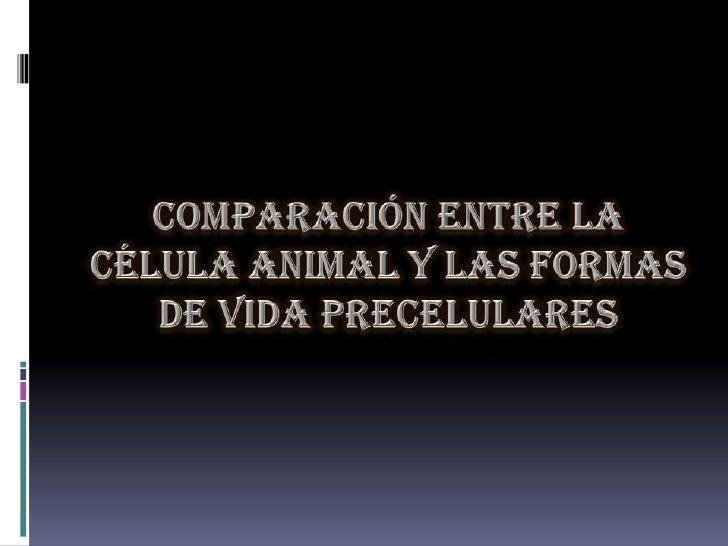 COMPARACIÓN ENTRE LA CÉLULA ANIMAL Y LAS FORMAS DE VIDA PRECELULARES<br />
