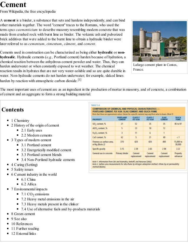 Lafarge cement plant in Contes, France. Cement From Wikipedia, the free encyclopedia A cement is a binder, a substance tha...