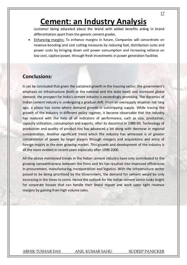 analysis of the cement industry in The study evaluates the energy consumption of both wet and dry processes  cement manufacturing plant in nigeria enrgy consumption data collected for the .
