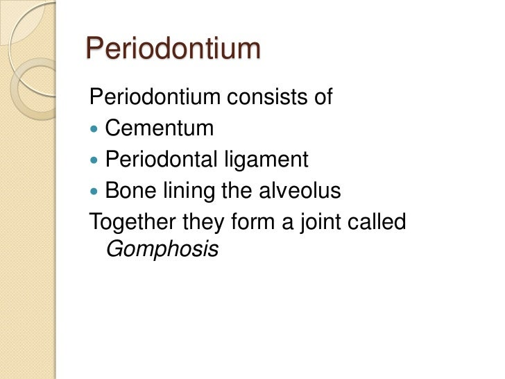 PeriodontiumPeriodontium consists of Cementum Periodontal ligament Bone lining the alveolusTogether they form a joint c...