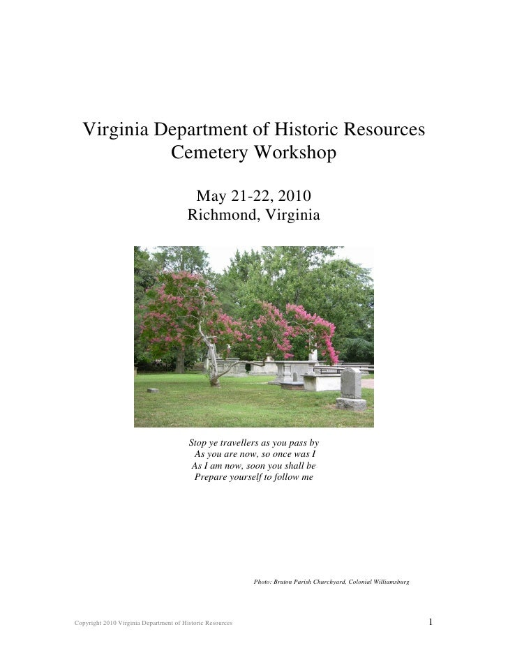 Virginia Department of Historic Resources             Cemetery Workshop                                           May 21-2...