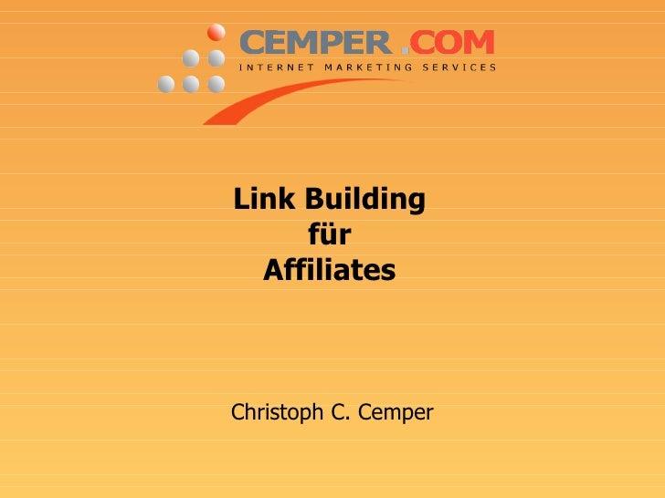 Linkbuilding für Affiliates von CEMPER.COM