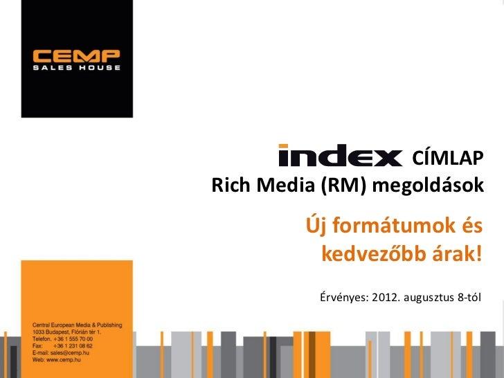Index címlap Rich Media (RM) megoldások