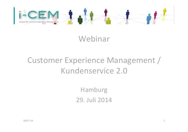 "Webinar ""Customer Experience Management / Kundenservice 2.0"""