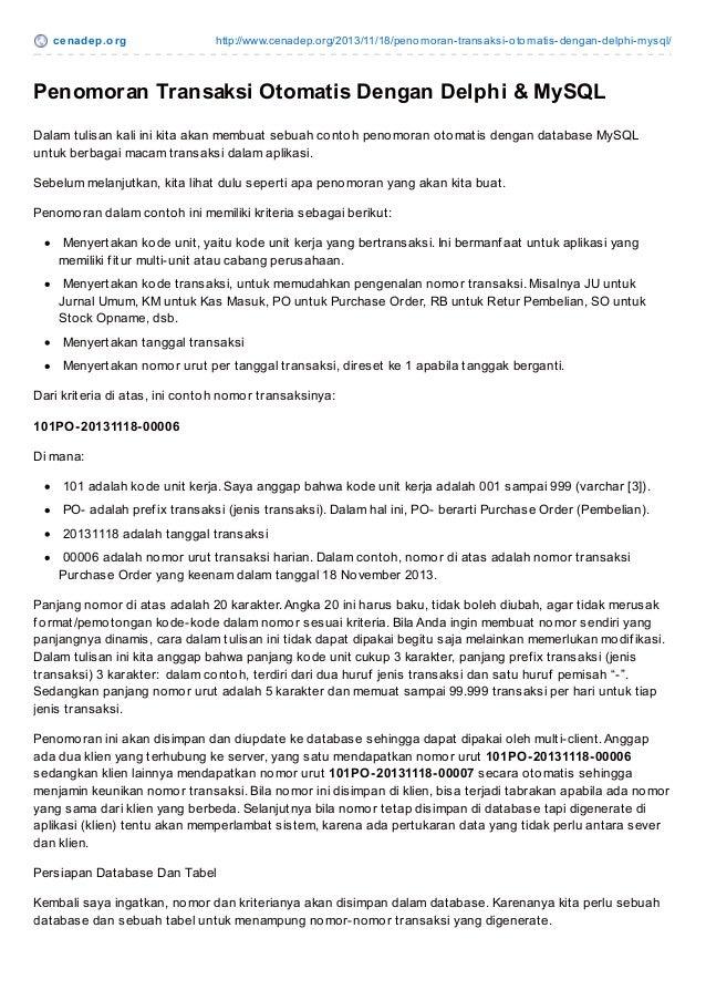 Cenadep.org - Tutorial Penomoran Transaksi Otomatis Dengan Delphi Dan MySQL