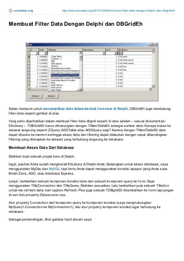 Cenadep.org - Membuat Filter Data DBgrid Dengan Delphi dan DBGridEh