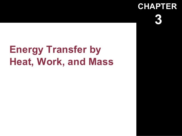 CHAPTER                          3Energy Transfer byHeat, Work, and Mass