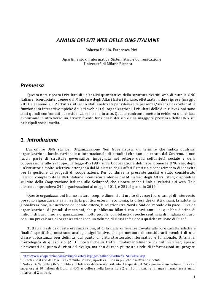 ANALISI DEI SITI WEB DELLE ONG ITALIANE                                            Roberto Polillo, Francesca Pini        ...