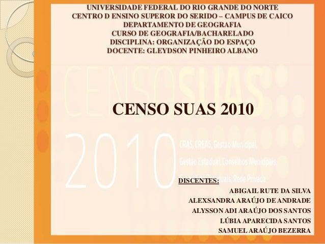 UNIVERSIDADE FEDERAL DO RIO GRANDE DO NORTECENTRO D ENSINO SUPEROR DO SERIDO – CAMPUS DE CAICO            DEPARTAMENTO DE ...