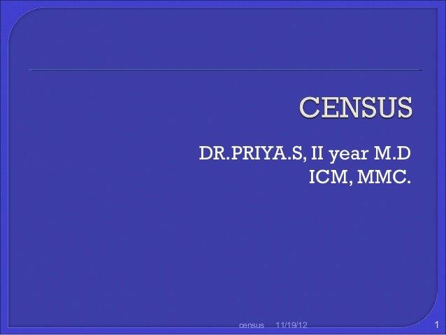DR.PRIYA.S, II year M.D           ICM, MMC.    census   11/19/12     1