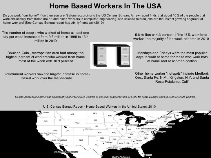 Home Based Workers In The USADo you work from home? If so then you arent alone according to the US Census Bureau. A new re...