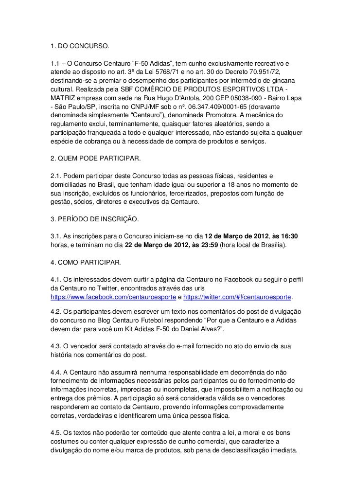 Centauro Regulamento F50 Adidas