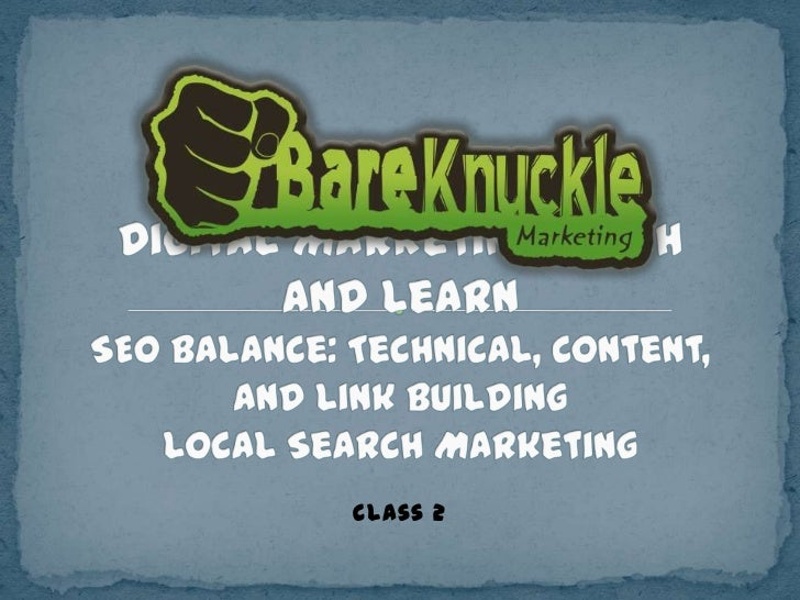 Digital Marketing Workshop: SEO Balance: Technical, Content, and Link Building